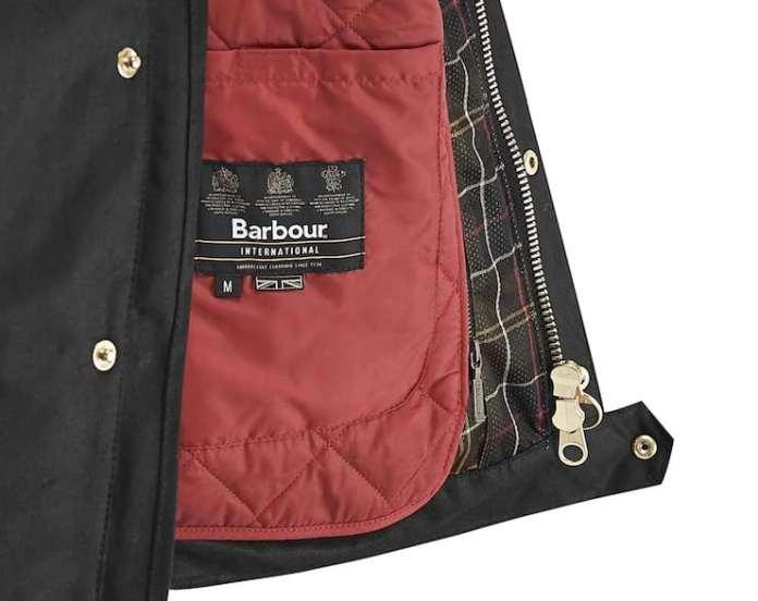 Barbour International Short Motorcycle Jacket inside liner