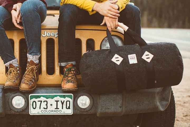 topo x woolrich duffel bag