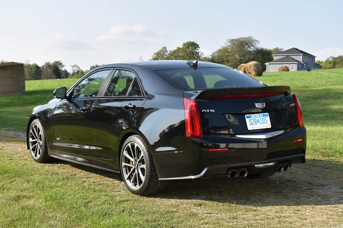 2017 Cadillac ATS-V black rear profile
