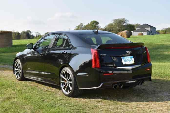 2017 Cadillac ATS-V black rear profile