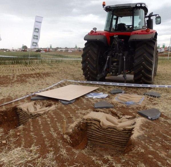 Ensayo para medir la compactación producida por los neumáticos