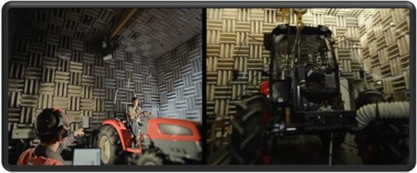 Los investigadores de Daedong trabajan para hacer tractores más eficientes, innovadores y respetuosos con el medio ambiente. En las imágenes diagnóstico final de ruidos, vibraciones y emisiones.