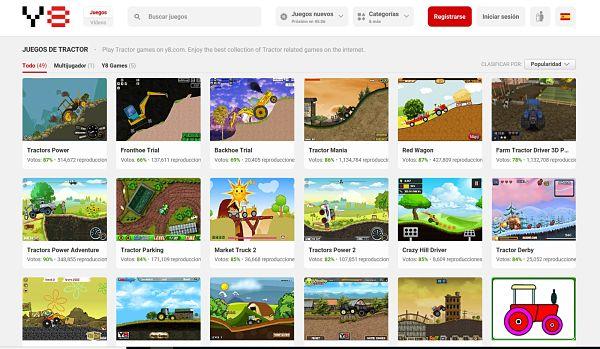 Web de Juegos Online, sección de tractores