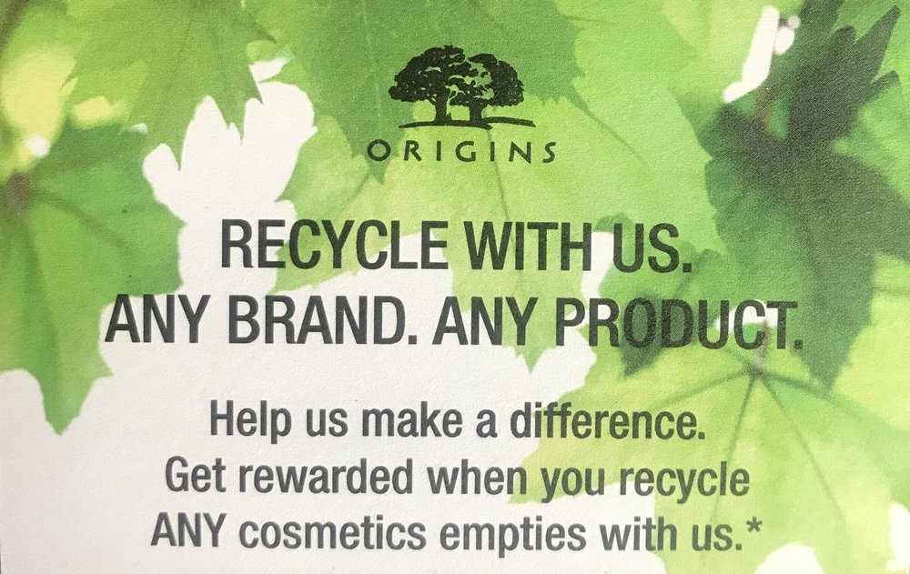 Origins recycle card - make sure to get yours.