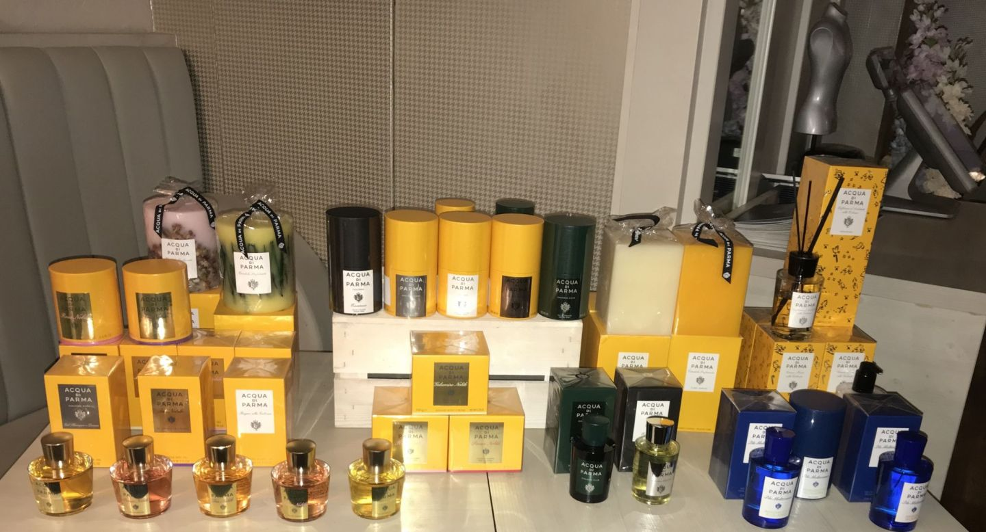 Yellow boxes are Acqua di Parma signature