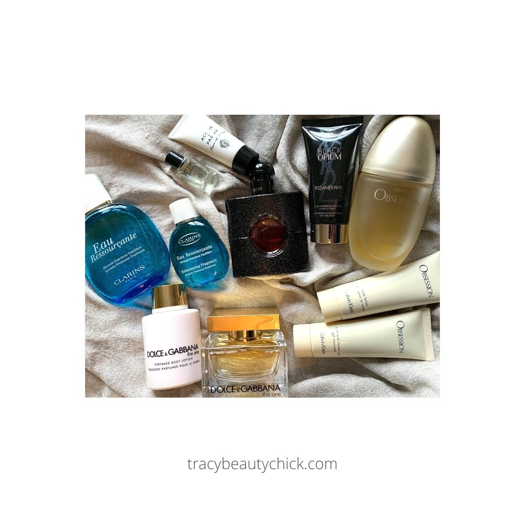 Fragrances with free lotions and potions