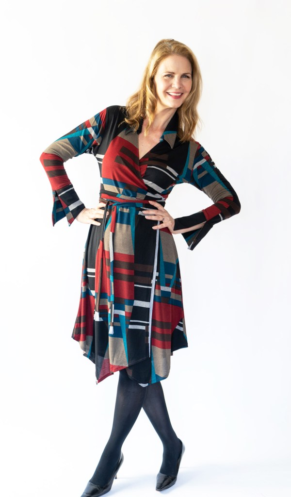 Tracy Gold Collection geometric wrap dress