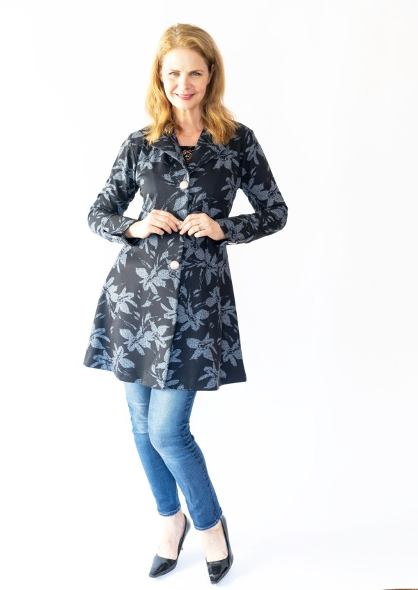 Tracy Gold Collection black and grey coat dress jeans