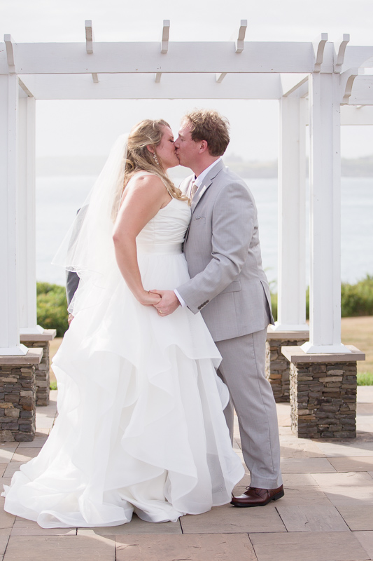 first kiss, ceremony, wedding ceremony, ocean cliff wedding, wedding, tracy jenkins photography, wedding photography, beach wedding, newport wedding, ocean cliff, rhode island