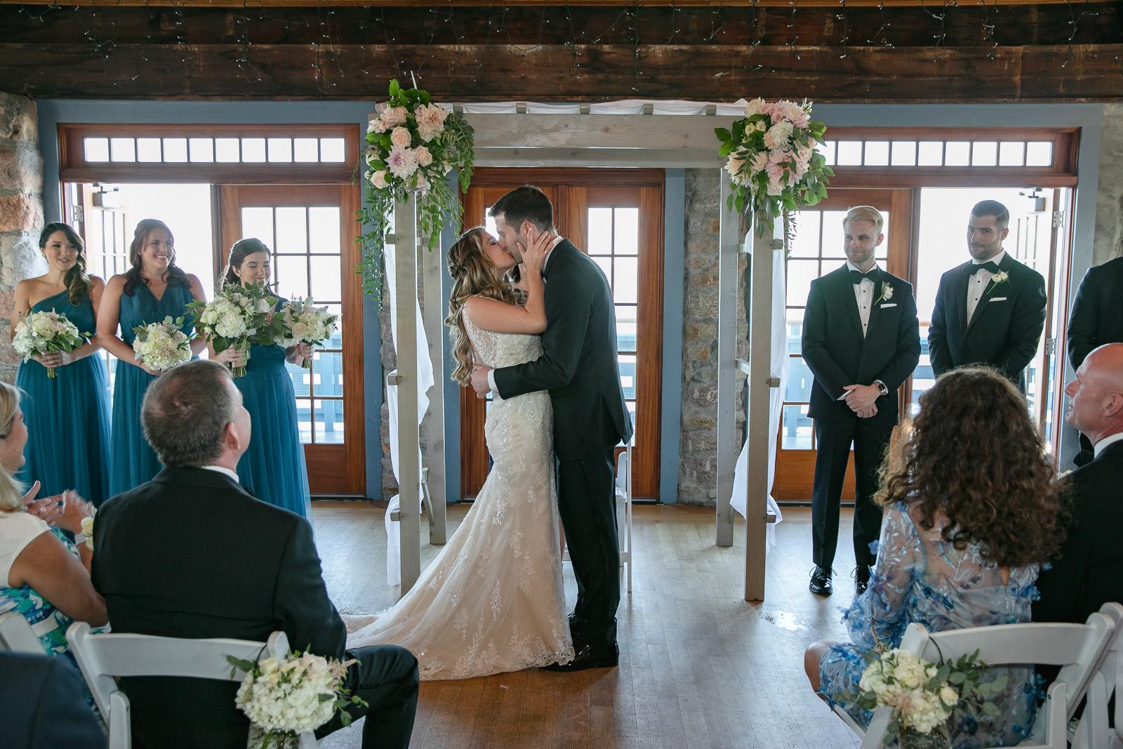 Wedding, Narragansett Towers, The Towers, Narragansett, Rhode Island, RI, Tracy Jenkins photography, RI wedding photographer, Rhode Island wedding photographer, wedding ceremony, first kiss