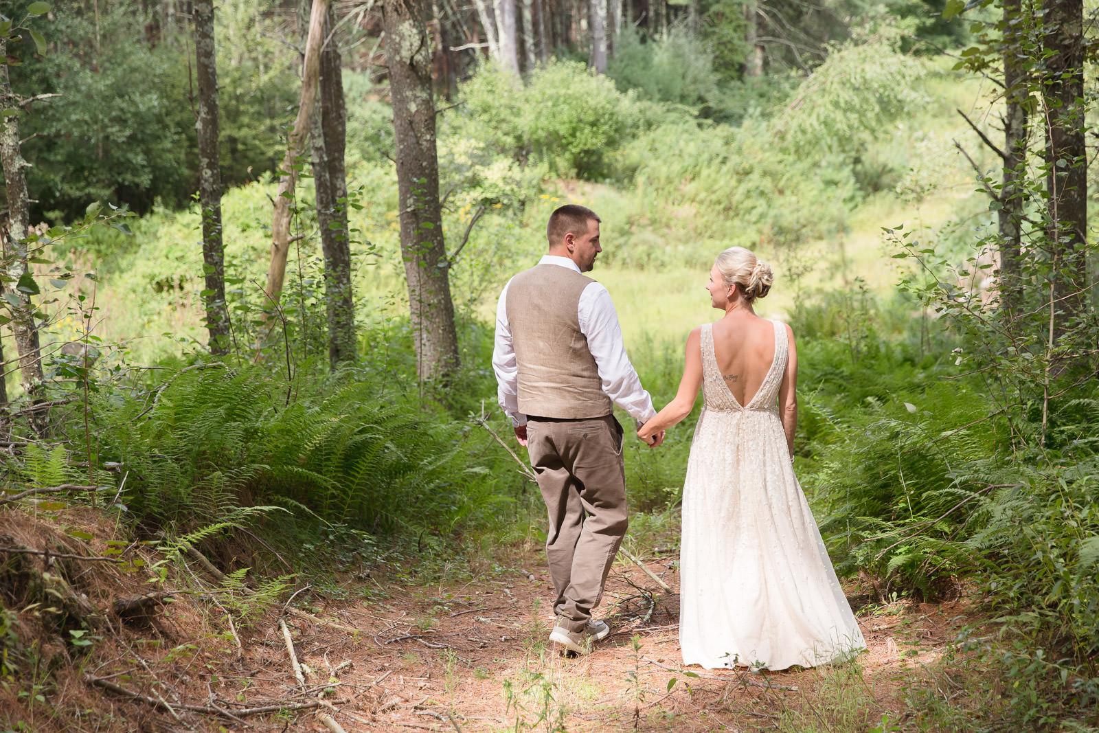 Coventry, Rhode Island, RI, Backyard Wedding, forest, earthy, wedding, tracy jenkins photography, wedding photographer, ri wedding photographer, Rhode Island Wedding photographer, walking in the woods, couple photos