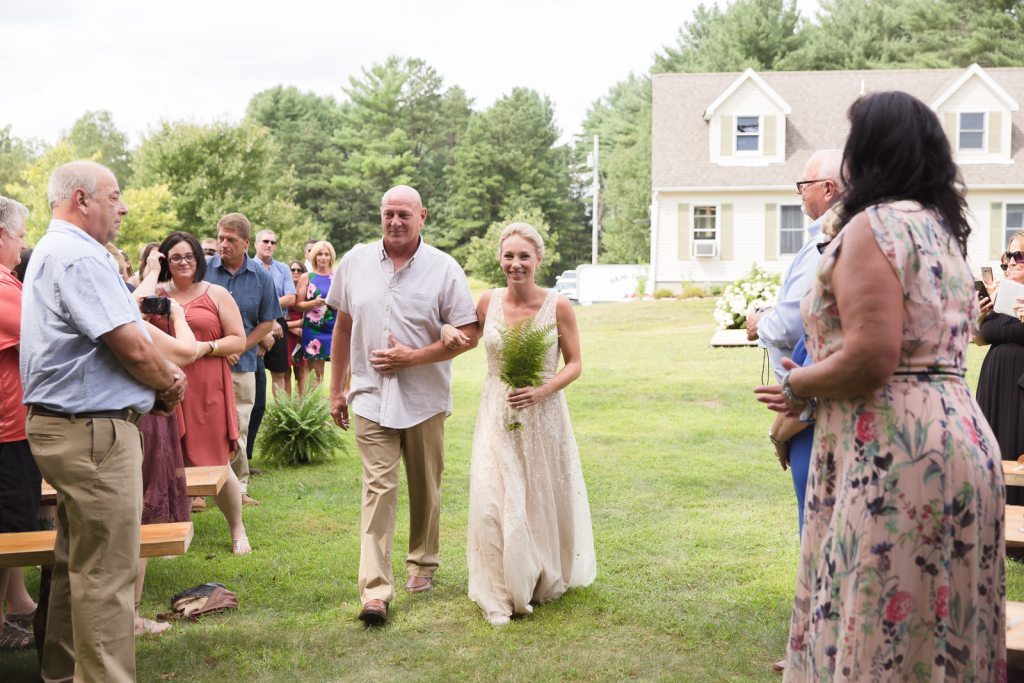 Coventry, Rhode Island, RI, Backyard Wedding, forest, earthy, wedding, tracy jenkins photography, wedding photographer, ri wedding photographer, Rhode Island Wedding photographer, father, bride, walking down the aisle, wedding ceremony in the woods
