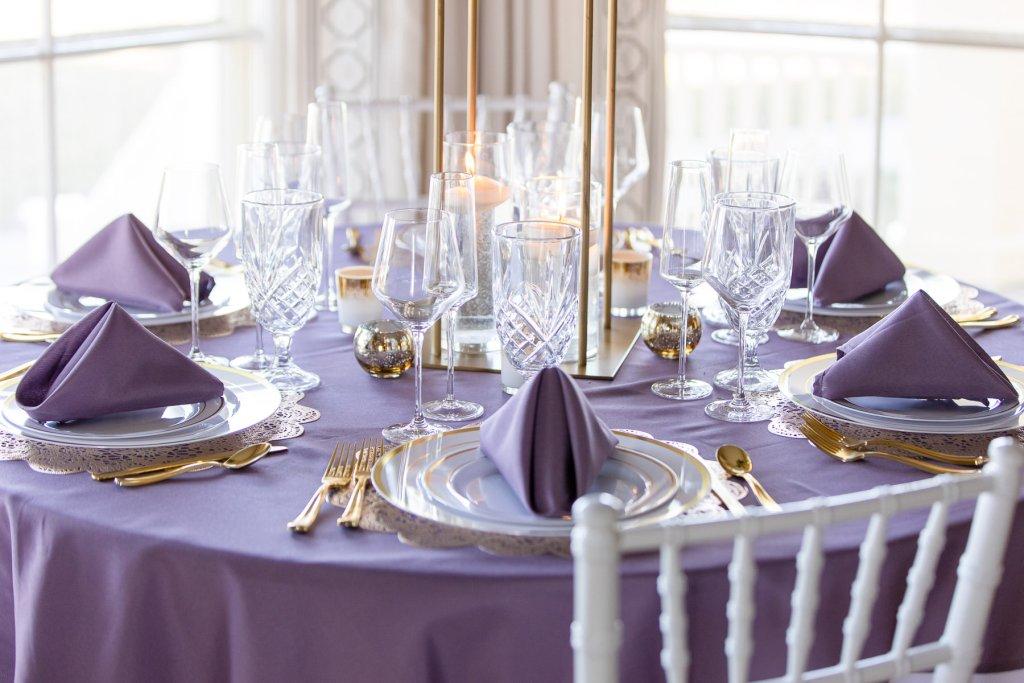Eisenhower House, Newport, Rhode Island, Tracy Jenkins Photography, wedding, LGBTQ+, LGBT, Gay, Inclusive, Photography, Wedding photography, table setting, lavender, gold