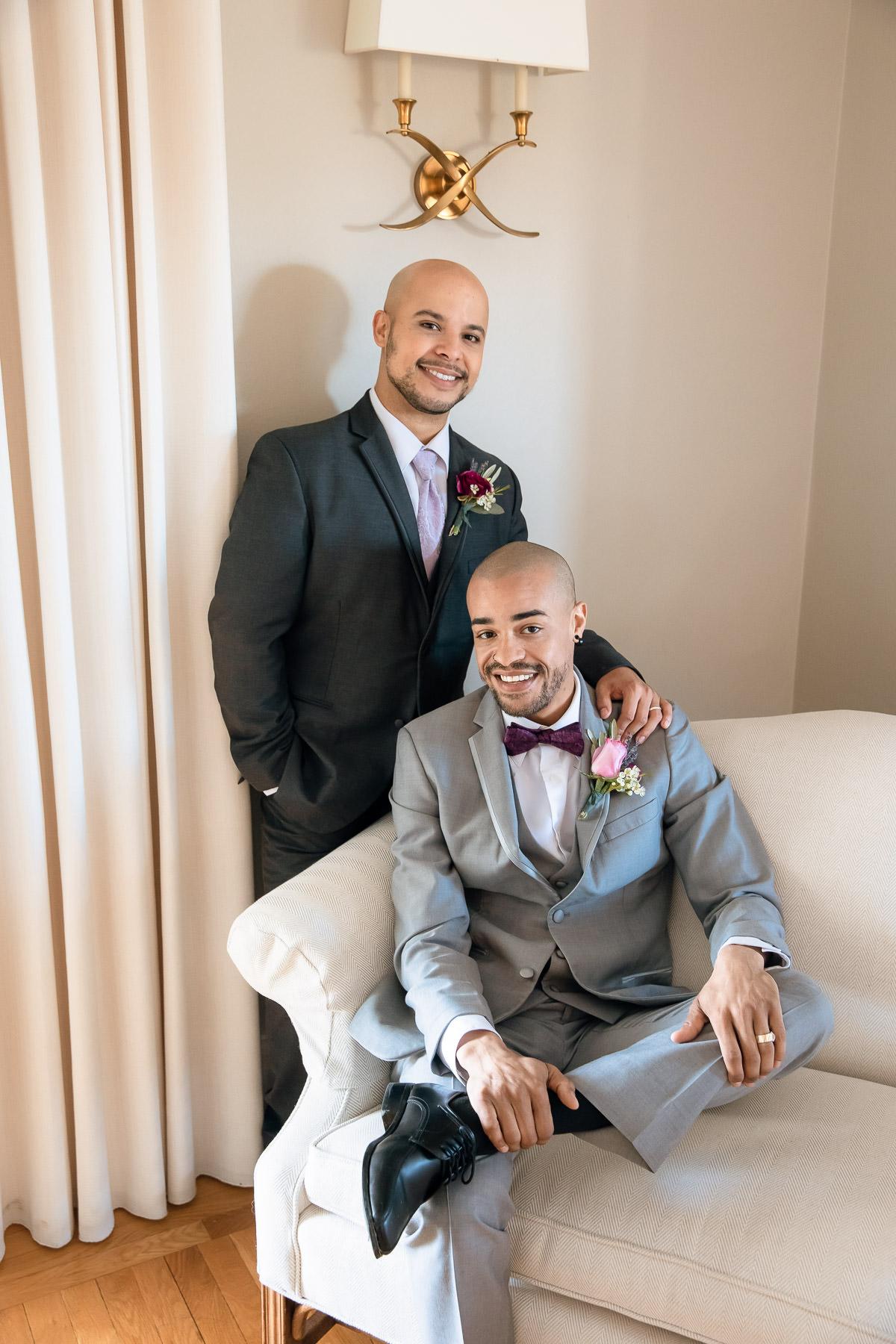 Eisenhower House, Newport, Rhode Island, Tracy Jenkins Photography, wedding, LGBTQ+, LGBT, Gay, Inclusive, Photography, Wedding photography, groom, grooms, couch