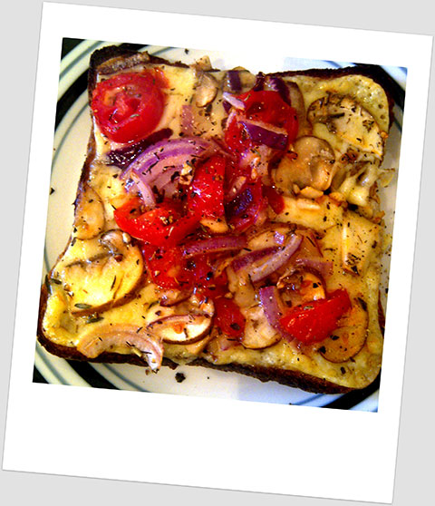 Lunch Day x: Cheddar, Cherry Tomatoes & Red Onion On Wholemeal Toast