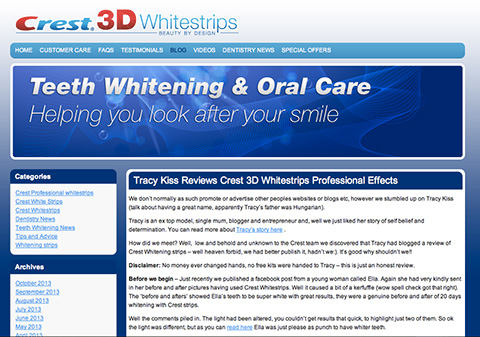 My Teeth Whitening Blog Is Featured On Crest's Website