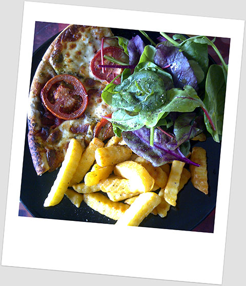 Lunch Day 28: Vegetarian Pizza, Chips & Baby Leaf Salad