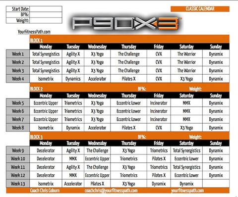My P90X3 Classic Calendar