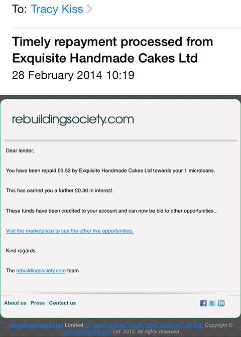 I Have Received My First Repayment Of 0p From Exquisite Handmade Cakes Ltd.