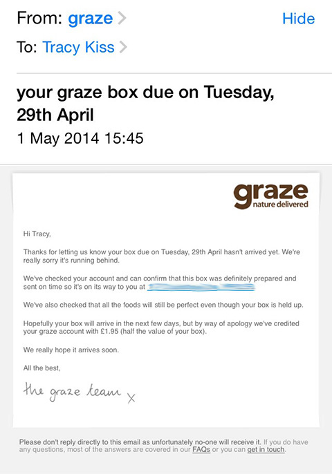 The Email I Received From Graze Following My Box Failing To Arrive