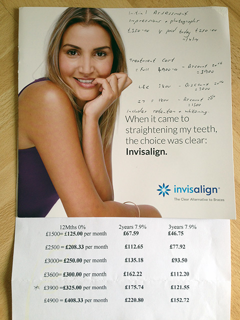 I Received An Invisalign Brochure & Finance Information From My Consultation