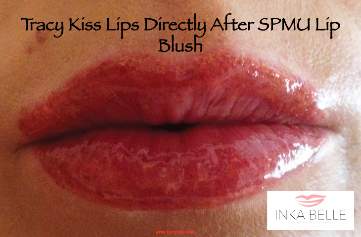 Tracy Kiss Lips Directly After Semi Permanent Makeup Lip Blush Treatement