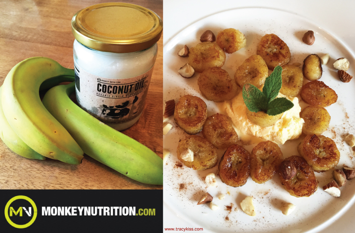 Monkey Nutrition Organic Virgin Coconut Oil Bananas With Crushed Nuts & Cinnamon