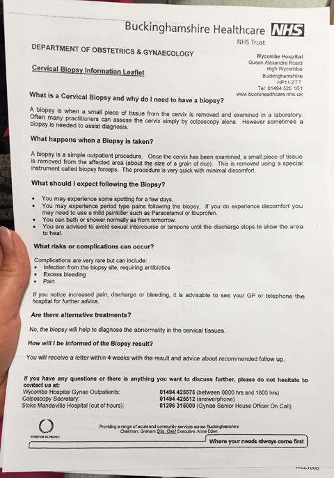 Cervical Biopsy Information Sheet
