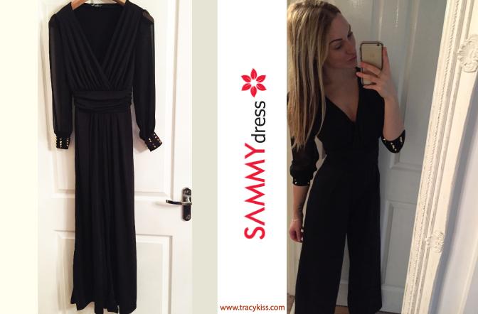 Sammy Dress Black V-Neck Wide Leg Jumpsuit