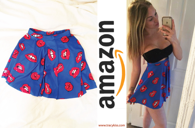 Amazon Wishlist Blue Cartoon Lip Print Skirt