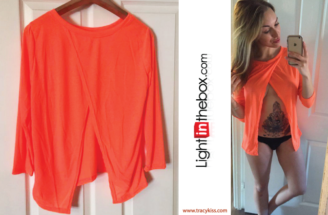LightInTheBox Orange Open Back T-Shirt