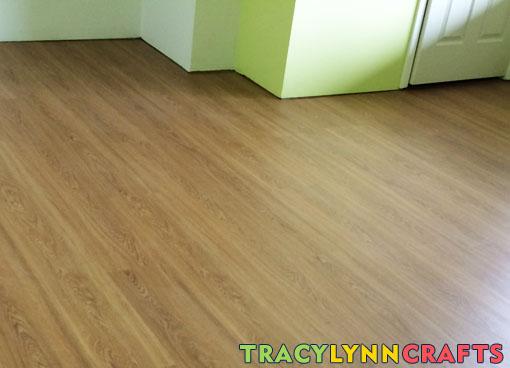 Cork-backed wood-look vinyl tiles laid in my home office