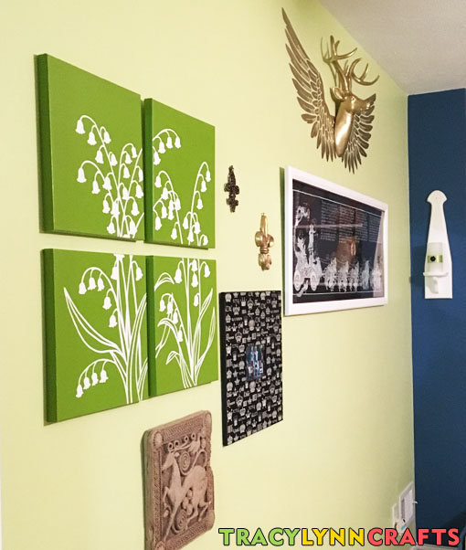 The stenciled panels are a part of the home office decor