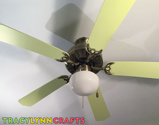 Painted ceiling fan blades to match the walls