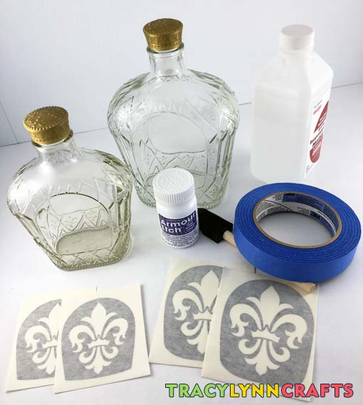 Materials and supplies to do the etching for the etched and painted Crown bottles