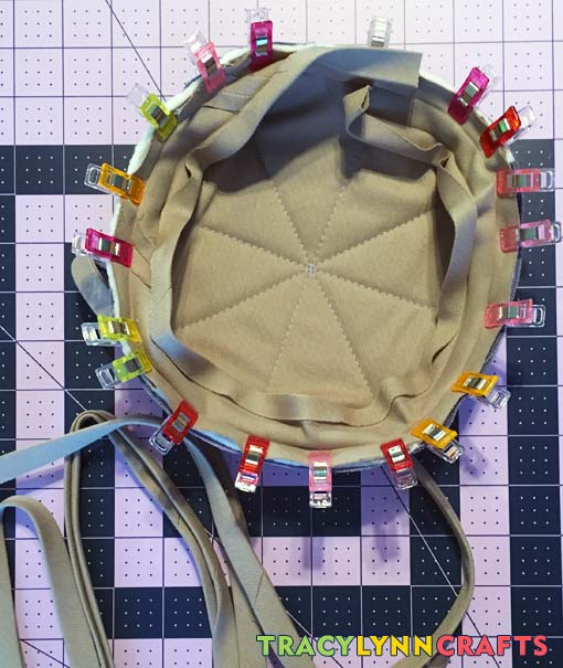Attach the bias tape to the inside of the square bowl cozy