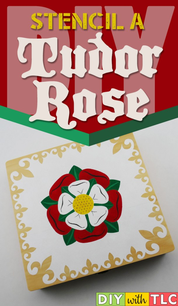 Make this Stenciled Tudor Rose on a wooden cigar box for yourself or as a gift | #diy #stencil #tudor #rose #stenciling