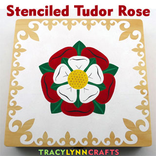DIY Stenciled Tudor Rose on a Wooden Box