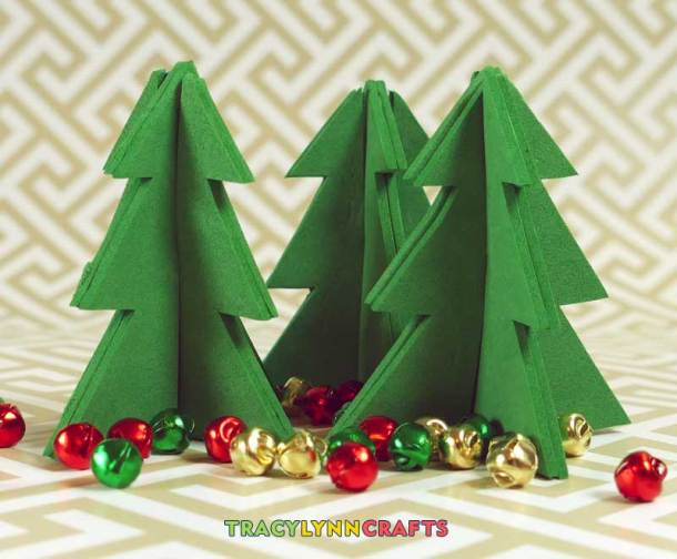 These 3D Craft Foam Christmas Trees are a quick and easy project to add to your Holiday decor
