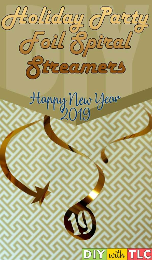 Make these party foil spiral streamers for a festive addition to your holiday decorating| #diy #newyearseve #new_years_eve #cricut #foil #party_foil #2019
