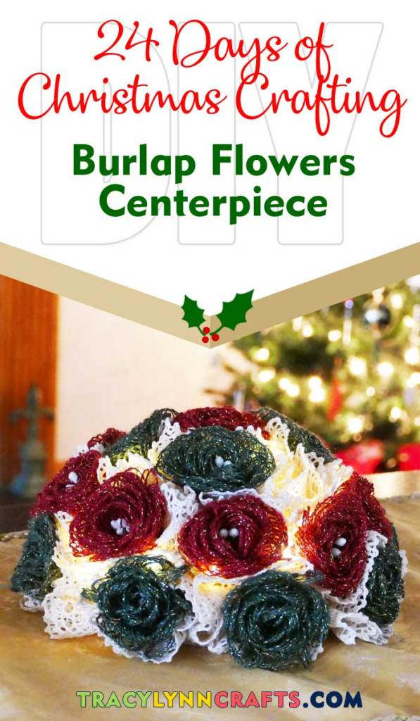 These loopy burlap flowers, dyed in red and green, make a charming holiday centerpiece for your Christmas decorating| #diy #christmas #burlap #flowers #loop #loopy #decor