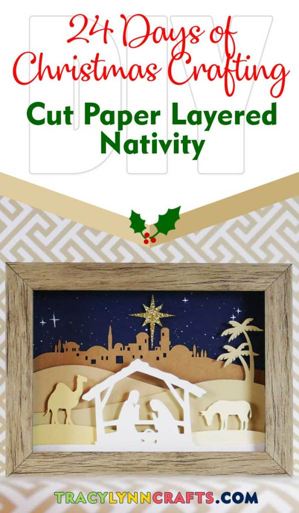 You can add this cut paper nativity scene to your Christmas decor to use year after year | #diy #christmas #cricut #paper #nativity