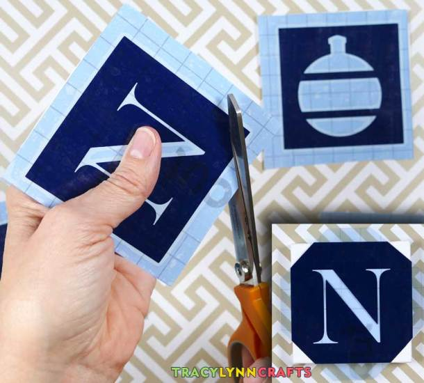 Clip the corners off to help with positioning the stencils
