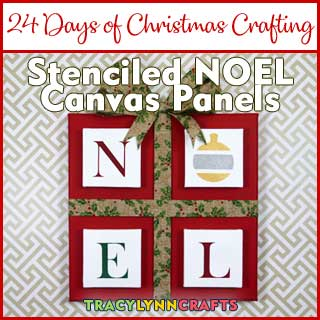 Stencil mini canvas panels and glue them to a larger panel to make this decorative addition to your Christmas holiday