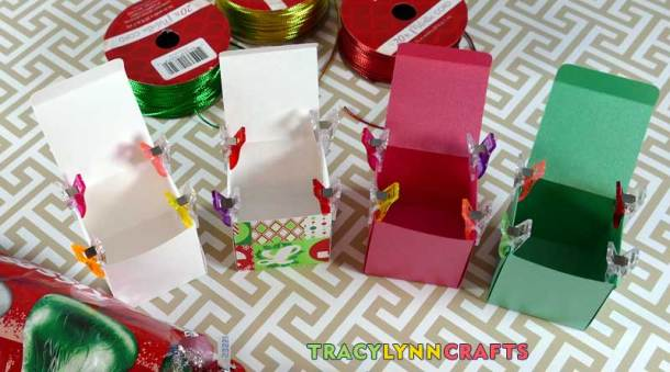 Using clips leps you work on many boxes while the glue is setting