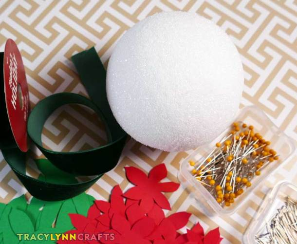 Materials and Supplies for your poinsettia Christmas ball decorations