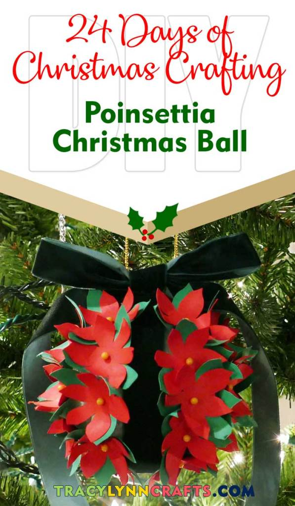 In a traditional Christmas flower, this Poinsettia ball with add color to your holiday decor | #diy #christmas #poinsettia #cricut #papercrafts #decoration