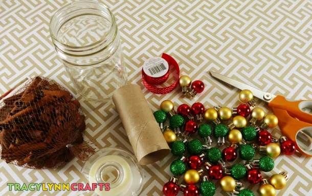Supplies for making the potpourri Christmas jar