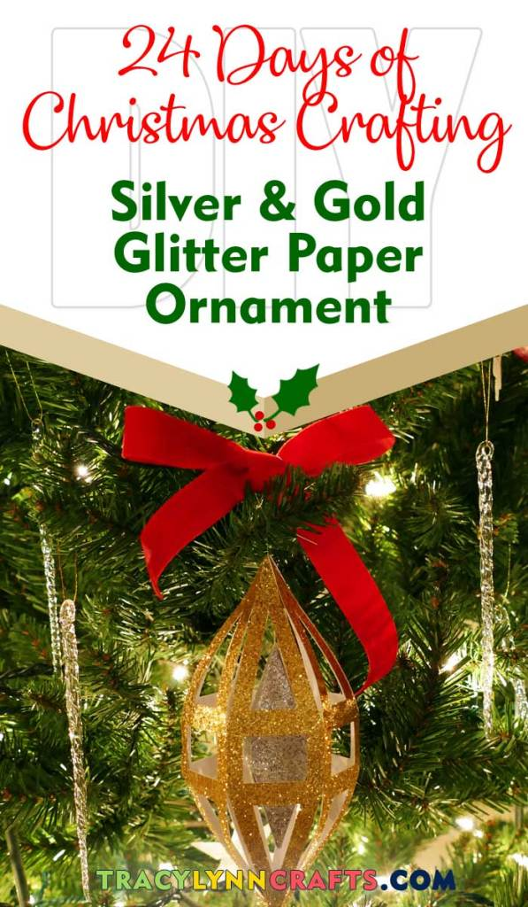 Silver and gold decorations, on every Christmas Tree| #diy #christmas #cricut #paper #silver #gold #glitter #ornament