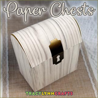 You can make these paper chests to give treats to friends and family for 12th Night or any time of year